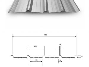 Metalsheet ลอนมาตรฐาน 760 mm
